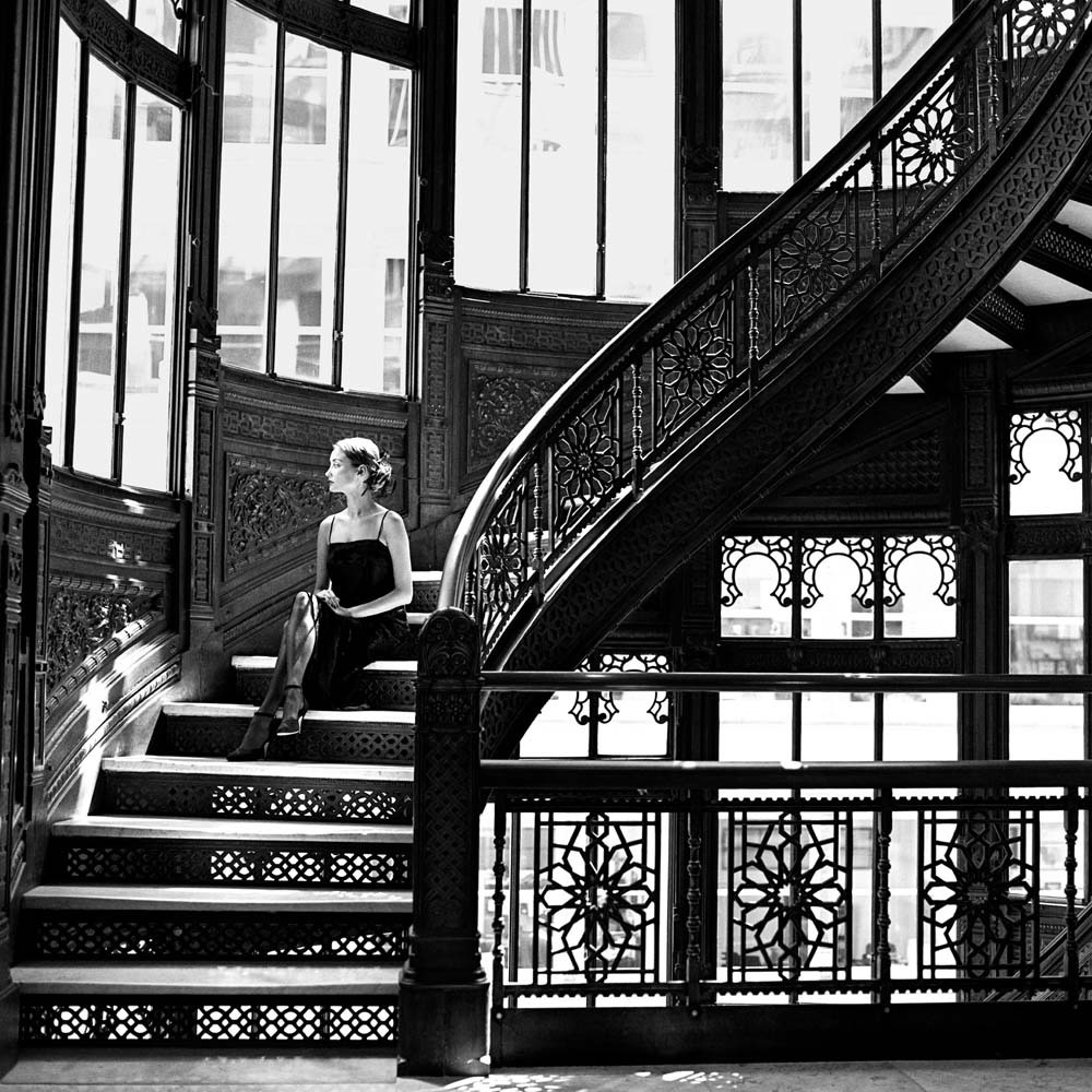 "<span class=""caption-title"">Jessica on Rookery Stairs</span>,  Chicago, Illinois, 1997<span class=""caption-copyright"">© Rodney Smith</span>"