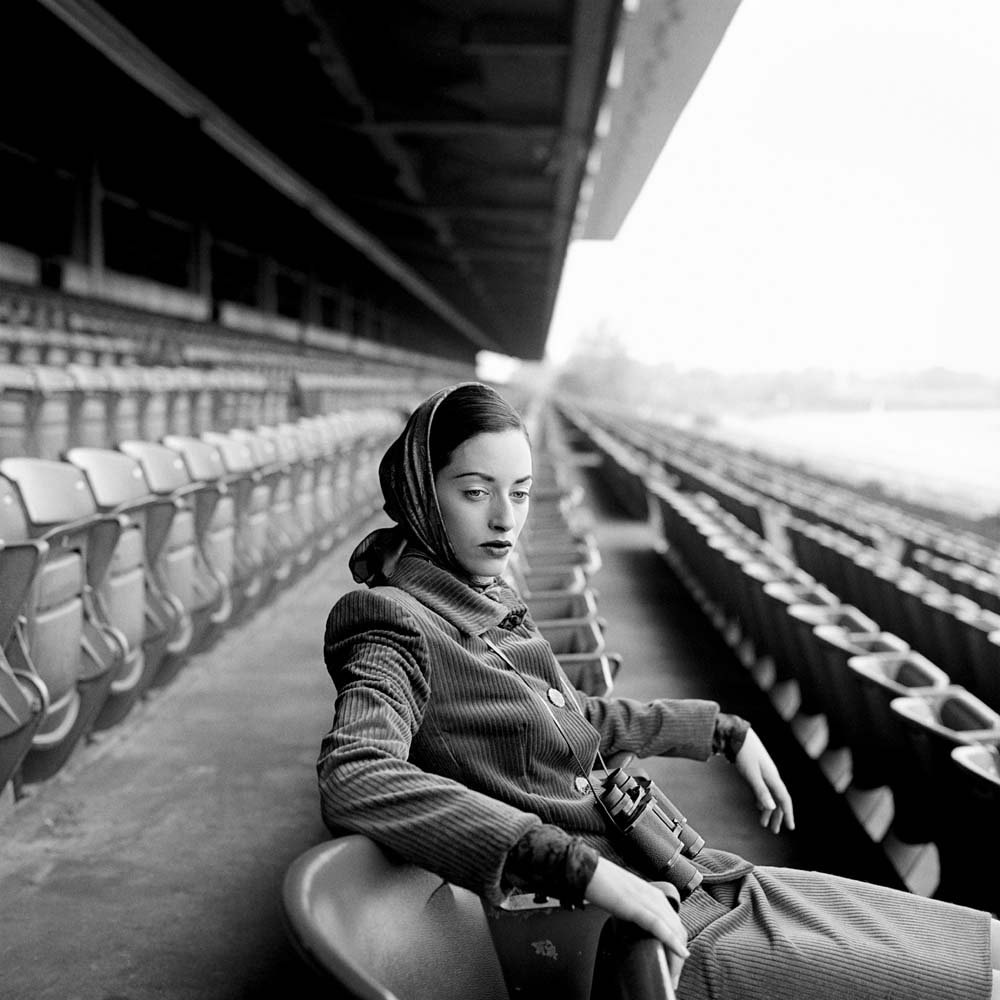 "<span class=""caption-title"">Shirley seated in Grandstand</span>, Long Island, New York, 1996<span class=""caption-copyright"">© Rodney Smith</span>"