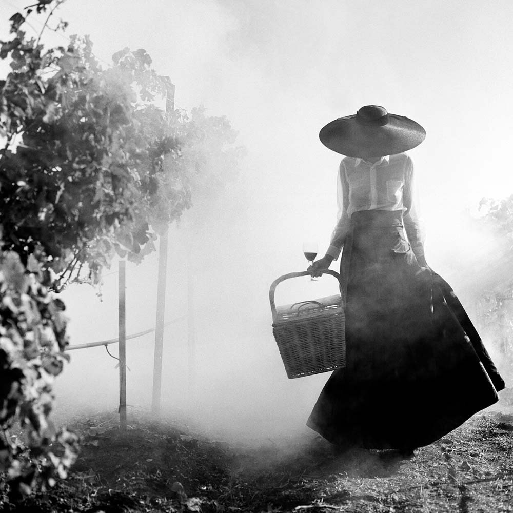 "<span class=""caption-title"">Woman Holding up Dress Walking through Vineyard</span>, Napa Valley, California,  1998<span class=""caption-copyright"">© Rodney Smith</span>"