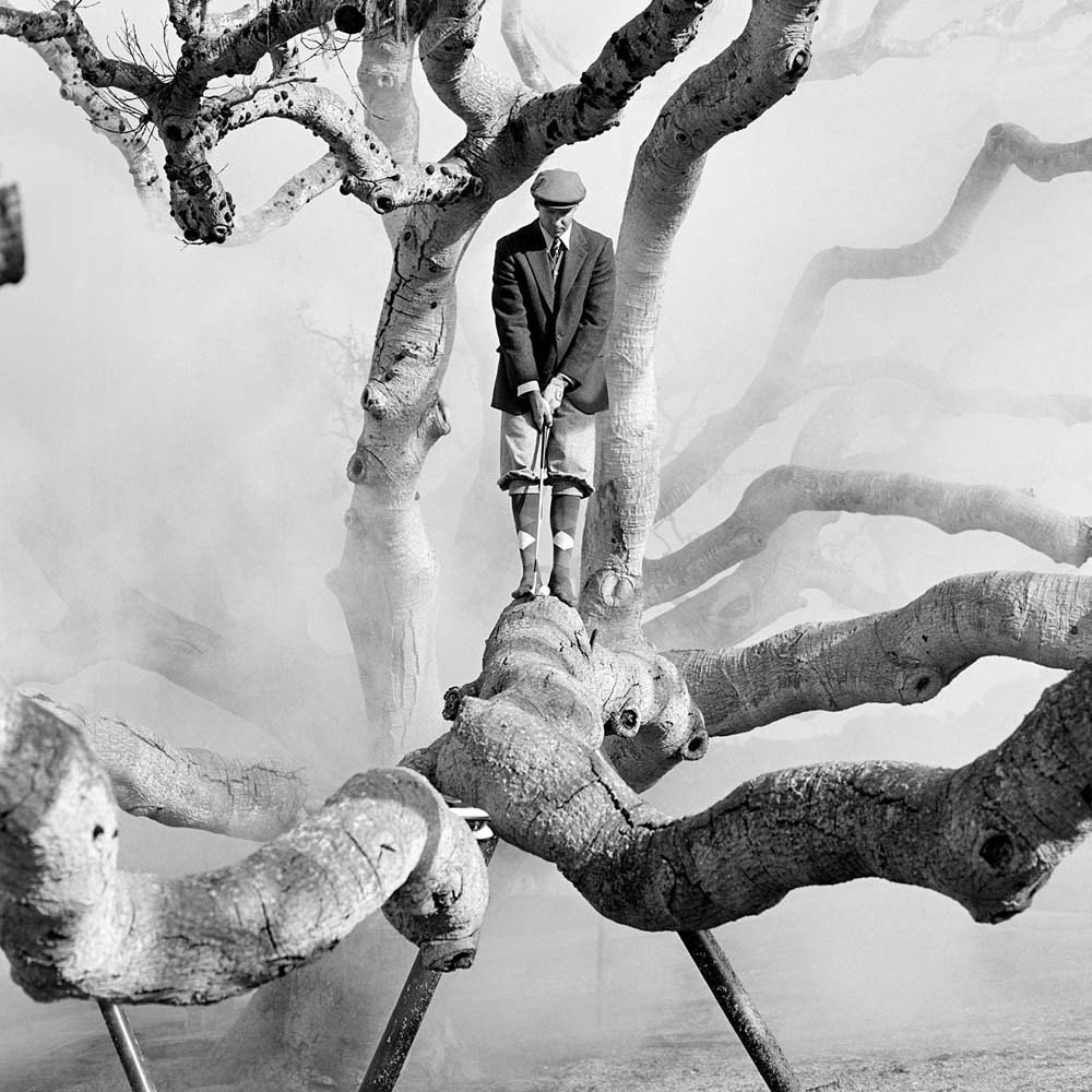 "<span class=""caption-title"">Daniel in Live Oak Tree with Fog No. 1</span>, Pebble Beach, California, 1998<span class=""caption-copyright"">© Rodney Smith</span>"