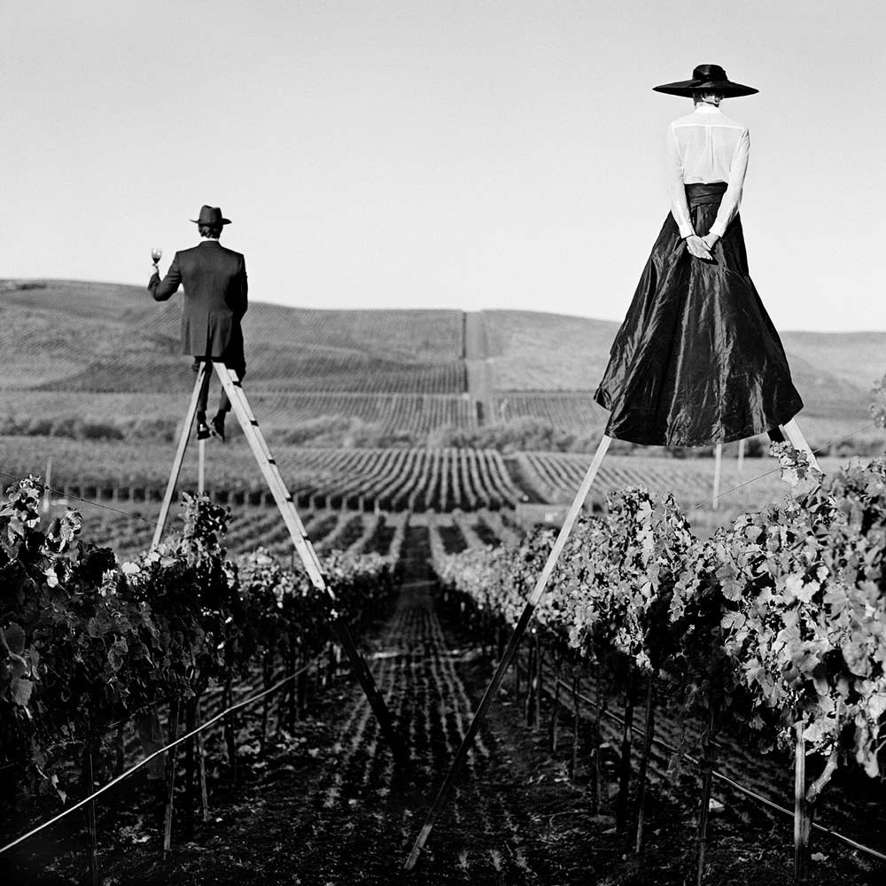 "<span class=""caption-title"">Couple from behind on Ladders  in Vineyard</span>, Napa Valley, California, 1998<span class=""caption-copyright"">© Rodney Smith</span>"