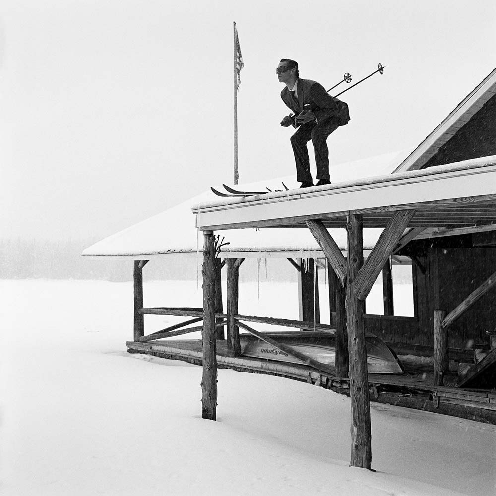"<span class=""caption-title"">Reed Skiing off Roof</span>, Lake Placid, New York, 2008<span class=""caption-copyright"">© Rodney Smith</span>"