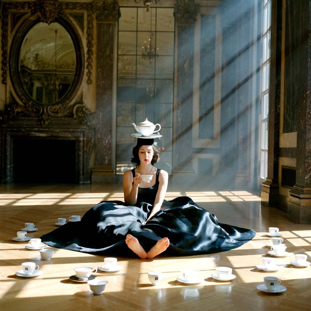 "<span class=""caption-title"">Zoe Balancing Teapot on Head</span>, Burden Mansion, New York City, New York, 2006<span class=""caption-copyright"">© Rodney Smith</span>"