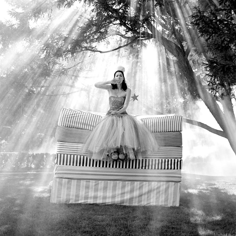 "<span class=""caption-title"">Zoe on top of Mattress Stack</span>, Snedens Landing, New York, 2007<span class=""caption-copyright"">© Rodney Smith</span>"