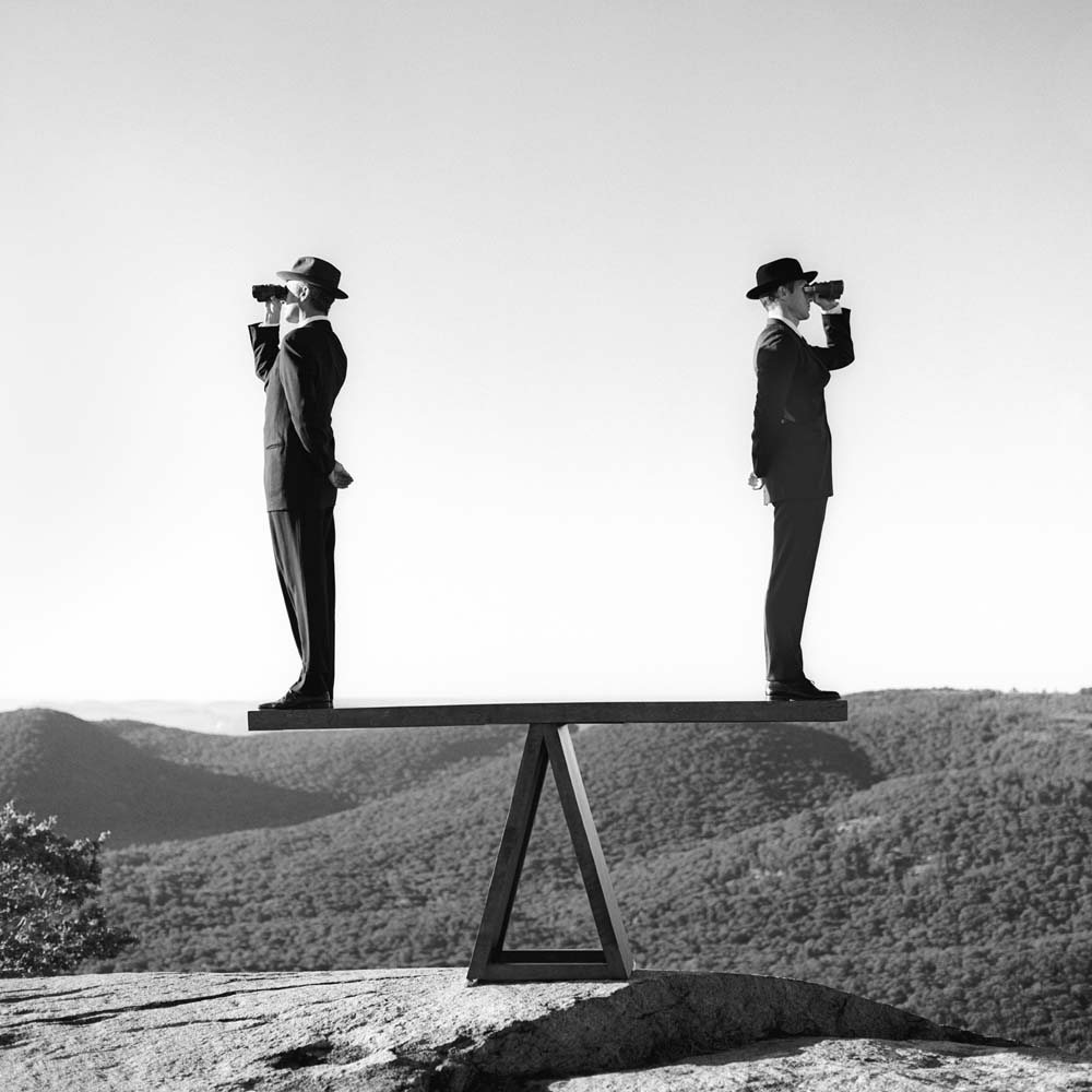 "<span class=""caption-title"">Two Men on See-saw No. 2</span>, Bear Mountain, New York, 2000<span class=""caption-copyright"">© Rodney Smith</span>"