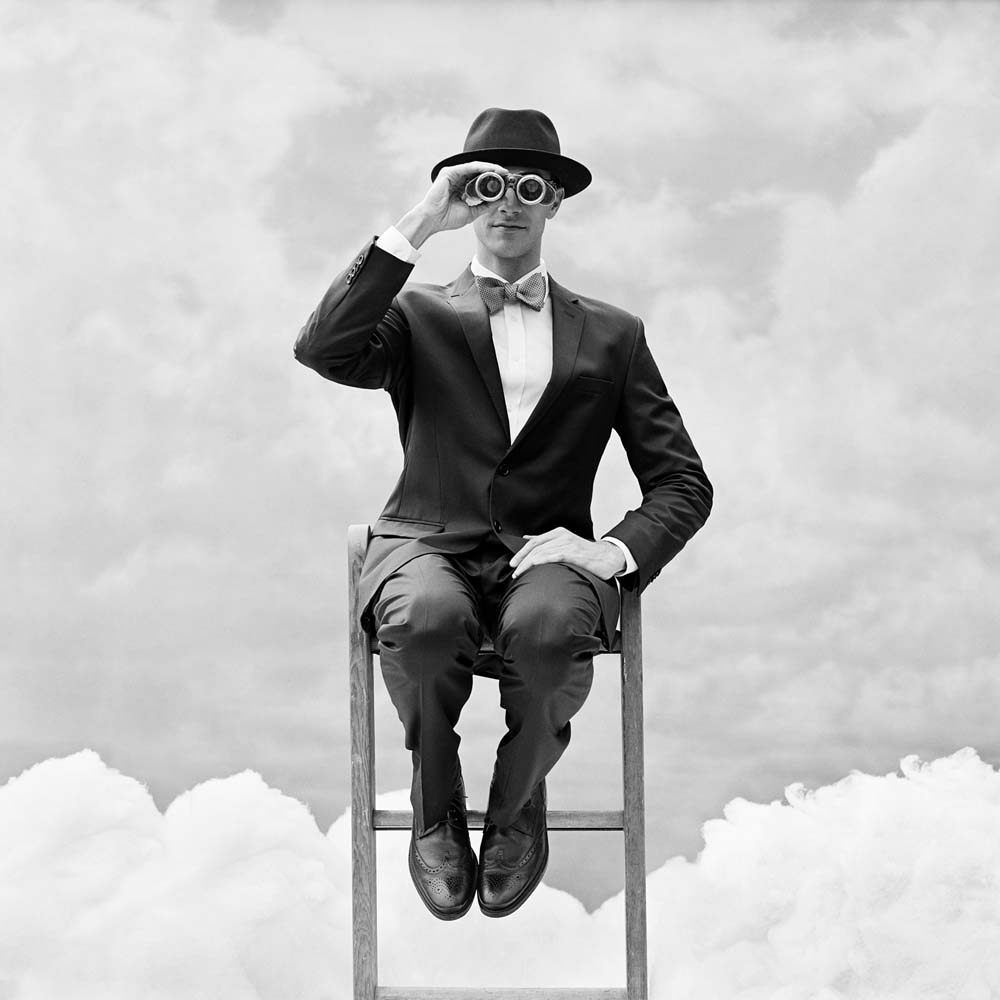 "<span class=""caption-title"">Reed Perched on the top of Ladder with Binoculars</span>, Snedens Landing, New York, 2012<span class=""caption-copyright"">© Rodney Smith</span>"