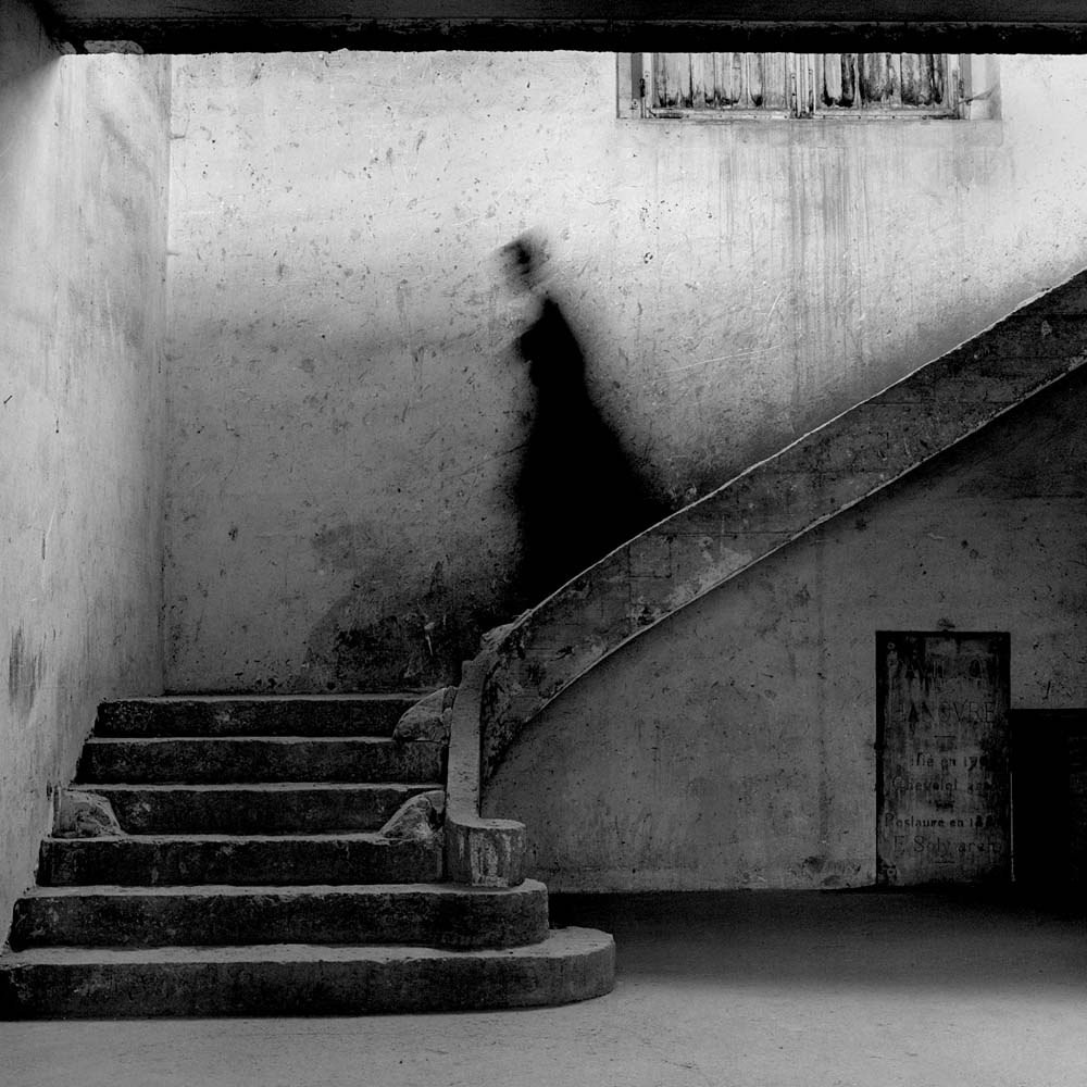 "<span class=""caption-title"">Gary Descending Stairs</span>, Parc de Sceaux, France, 1995<span class=""caption-copyright"">© Rodney Smith</span>"