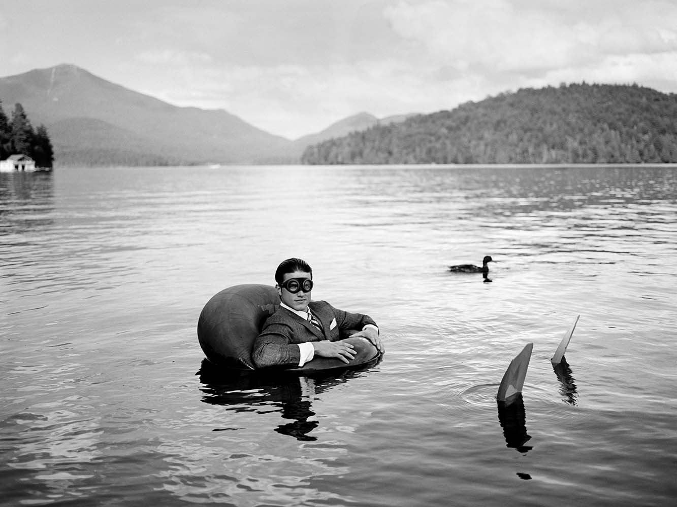 "<span class=""caption-title"">James in  Innertube with Duck</span>,  Lake Placid, New York, 2006<span class=""caption-copyright"">© Rodney Smith</span>"